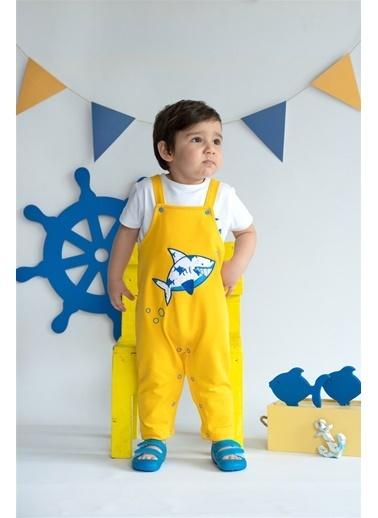 Nila Kids Shark in Yellow Organik Erkek Bebek Uzun Tulum Sarı